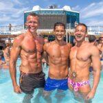 Gay Cruise three guys at pool